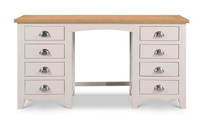 Richmond Grey and Oak Double Pedestal Dressing Table -3991
