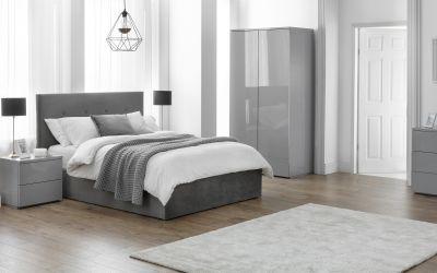 Monaco 2 Door 1 Drawer Wardrobe in Grey Gloss -3913