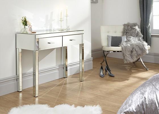 Venetian 2 Drawer Mirrored Dressing Table -0