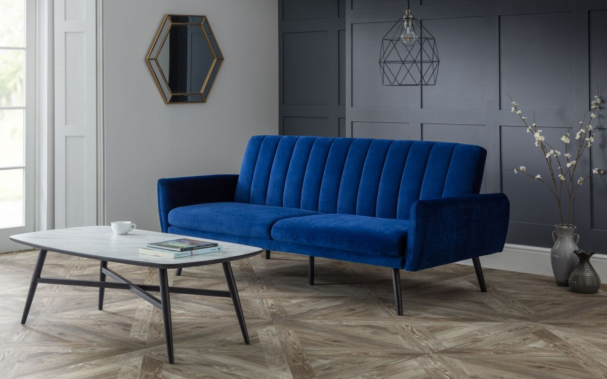 Affinity Plush Royal Blue Sofa Bed All About Beds