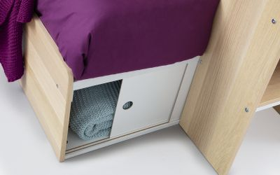 Solar Storage Bunk with Desk in oak/white-3852