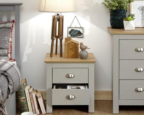 Lancaster Grey and Oak 2 Drawer Bedside -4090