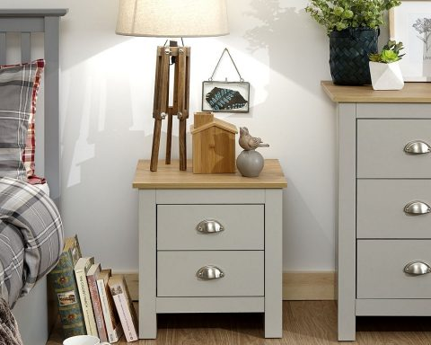 Lancaster Grey and Oak 2 Drawer Bedside -0