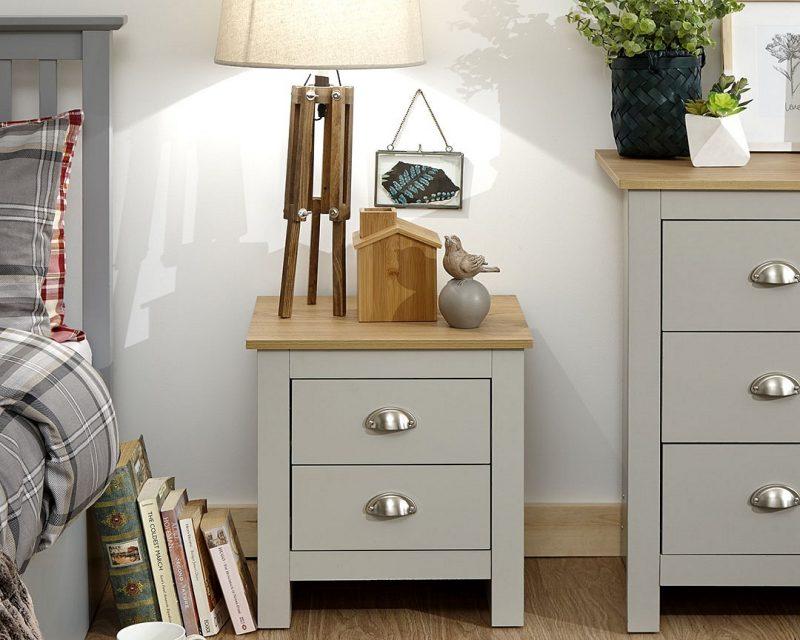 Lancaster Grey and Oak 2 Drawer Bedside -0