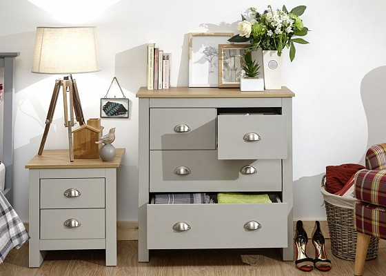 Lancaster Grey and Oak 2+2 Chest -4095