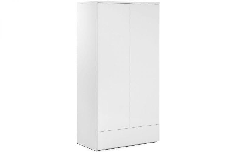 Monaco 2 Door 1 Drawer White Gloss Wardrobe -0