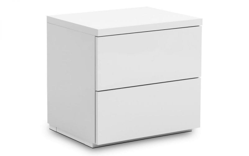 Monaco 2 Drawer Bedside in White Gloss -0