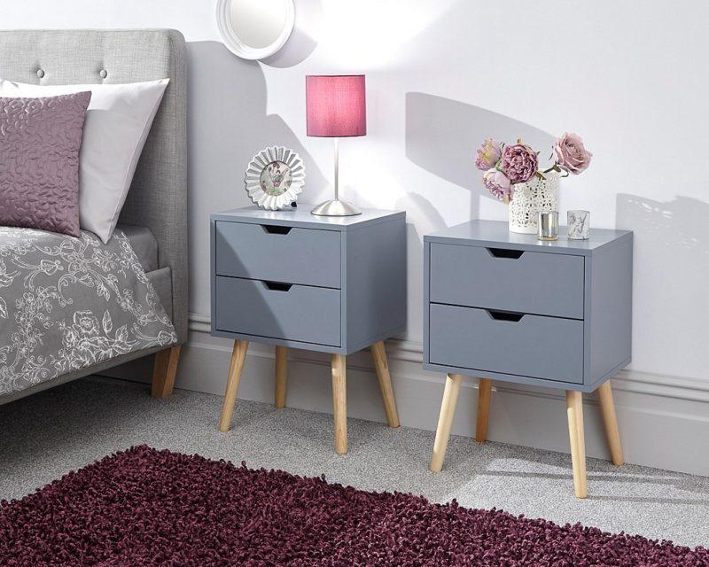 Nyborg 2 Drawer Scandinavian Bedside in Dark Grey -0