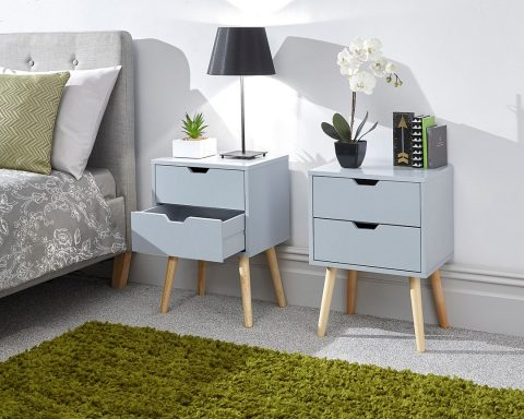 Nyborg 2 Drawer Scandinavian Bedside in Light Grey -0
