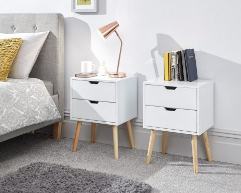 Nyborg 2 Drawer Scandinavian Bedside in White -0