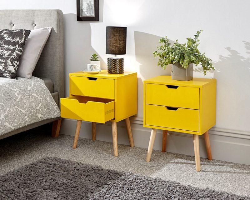 Nyborg 2 Drawer Scandinavian Bedside in yellow-0