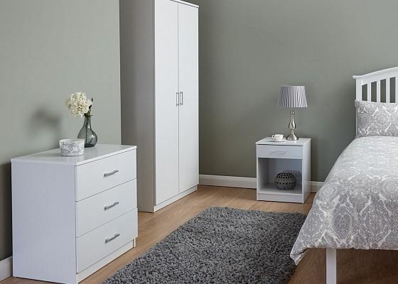 Panama 3 Piece Bedroom Set in White -4164