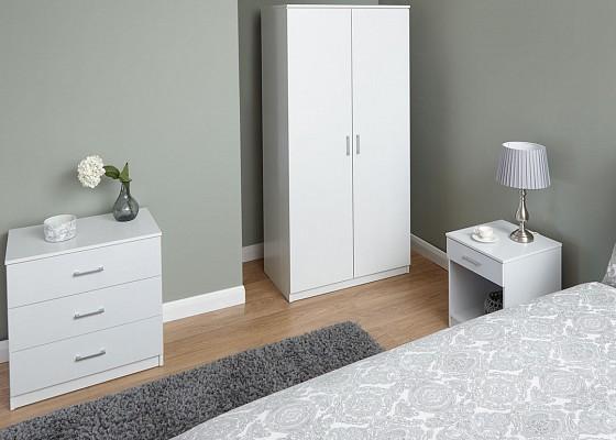 Panama 3 Piece Bedroom Set in White -0