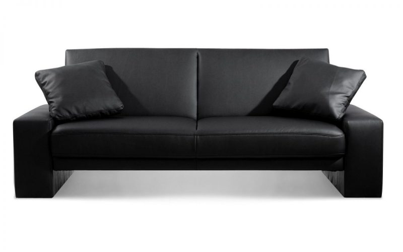 Toledo Sofa Bed in Black Faux Leather -0
