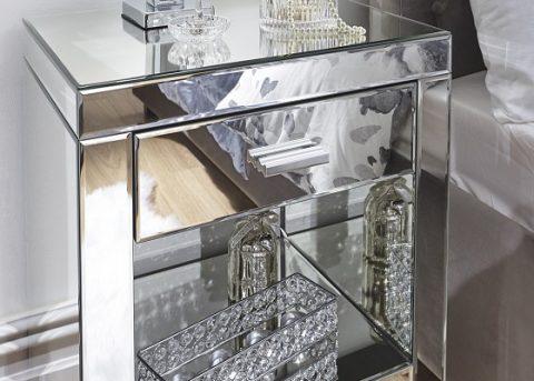 Venetian Mirrored 1 Drawer Bedside -4125