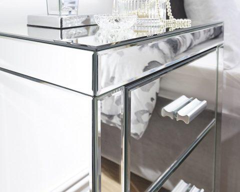 Venetian 3 Drawer Mirrored Bedside -4135