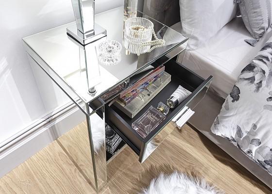 Venetian 3 Drawer Mirrored Bedside -4133