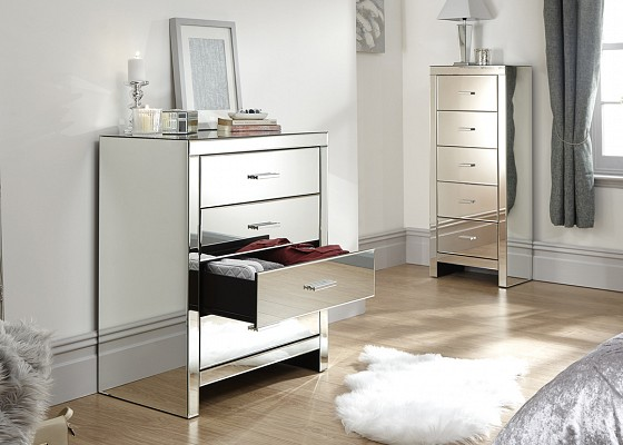 Venetian 4 Drawer Mirrored Chest -4139