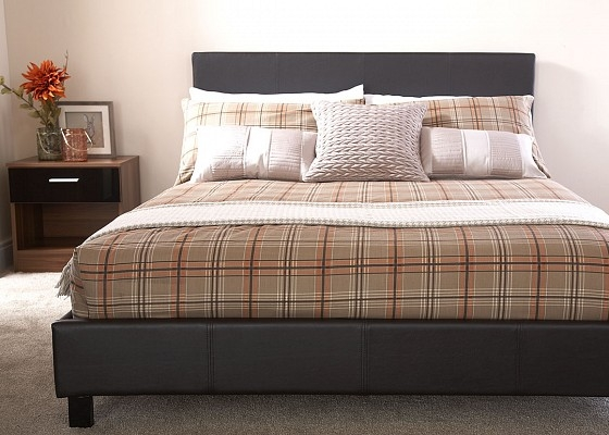 Brown Faux Leather bed frame-0