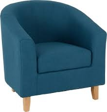 Bedroom Blue Fabric Tub Chair-4294