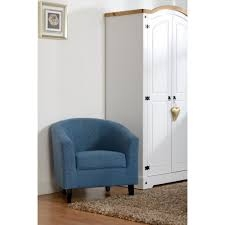 Bedroom Blue Fabric Tub Chair-0