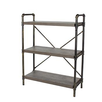 Industrial 3 Tier Bookcase with Pipe Design -0