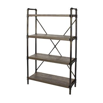 Industrial 4 Tier Bookcase with Pipe Design -0