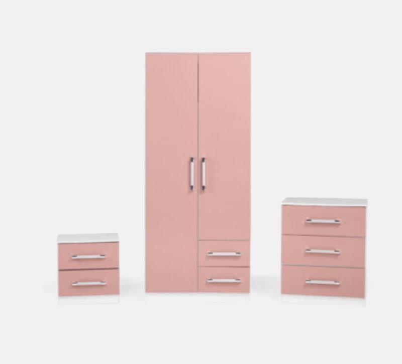 Jacob 3 Piece Bedroom Set in Pink-0