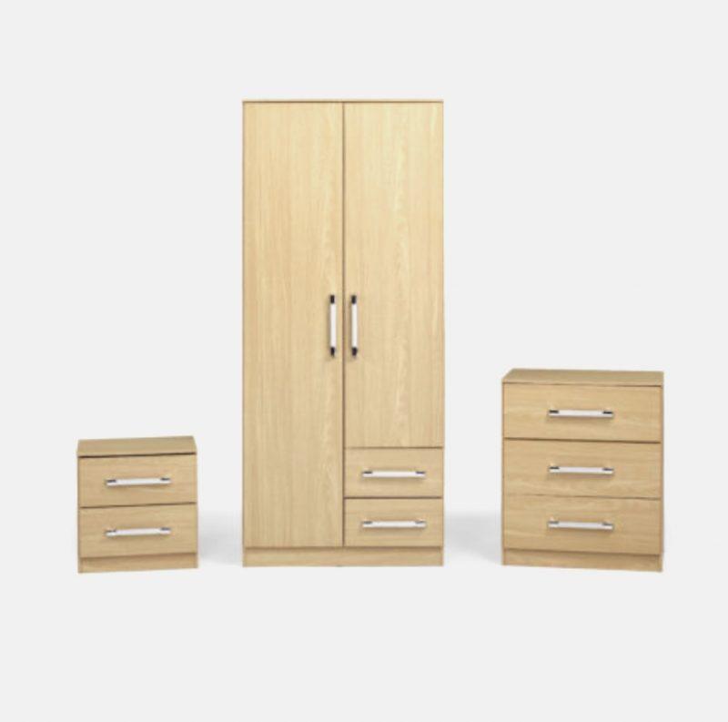 Jacob 3 Piece Bedroom Set in Oak Effect-0