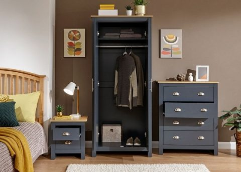 Lancaster 3 Piece Bedroom Set in Slate Blue-4244