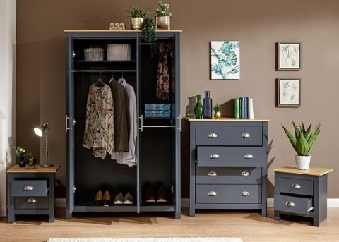 Lancaster 4 Piece Bedroom Set in Slate Blue -4240