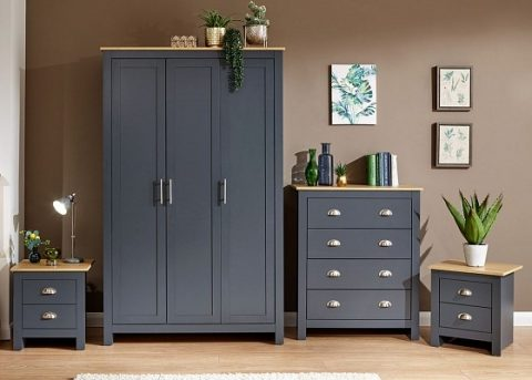 Lancaster 4 Piece Bedroom Set in Slate Blue -0