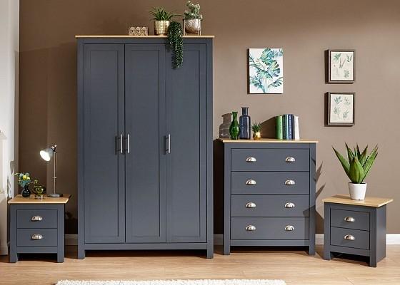 Lancaster 4 Piece Bedroom Set in Slate Blue -0