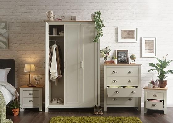 Lancaster 4 Piece Bedroom Set in Cream-0