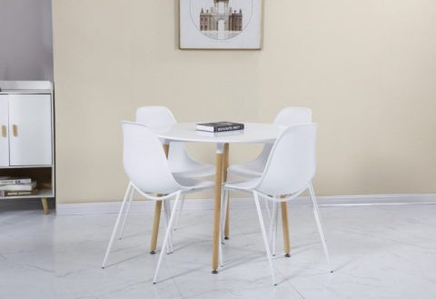 Lindon Dining Set in White/Oak-0