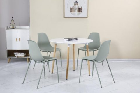 Lindon Dining Set in Natural Oak/Green-0