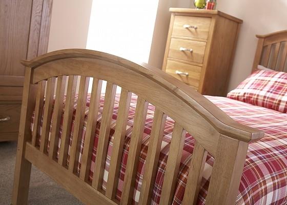 Madrid High Foot Wooden Bed Frame in Oak-4236