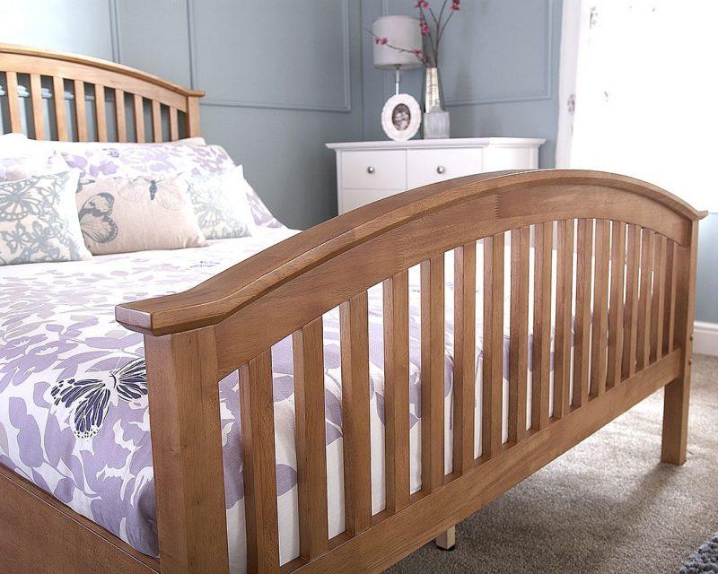 Madrid High Foot Wooden Bed Frame in Oak-0