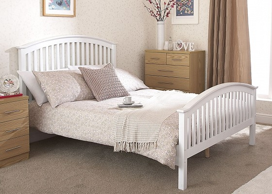Madrid High Foot Wooden Bed frame in White-0