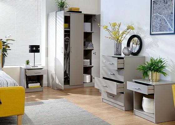 Panama 4 Piece Bedroom Set in Grey -0