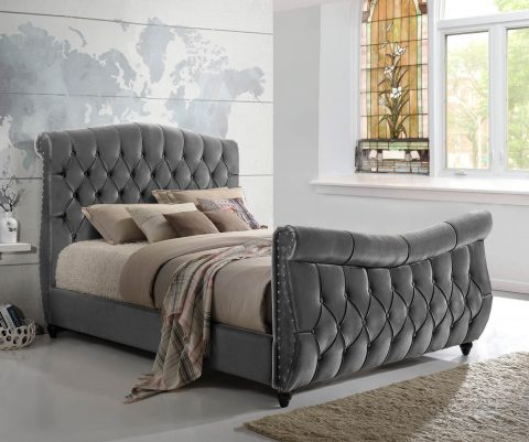 Lachelle Grey Fabric Sleigh Bed-0
